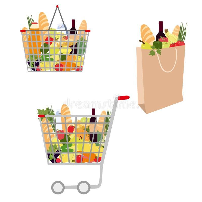 Coleção do saco de compras do vetor Cesta de compra com alimentos Carrinho de compras completamente com os mantimentos isolados n ilustração royalty free
