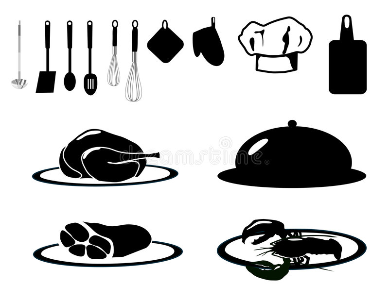 Coleção do serviço de alimento ilustração do vetor