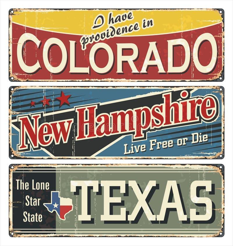 Coleção do sinal da lata do vintage com estado de América colorado De New-Hampshire texas Lembranças retros ou moldes do cartão n ilustração do vetor