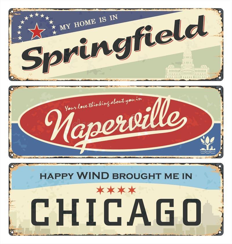 Coleção do sinal da lata do vintage com cidades dos EUA springfield Naperville chicago Lembranças retros ilustração royalty free