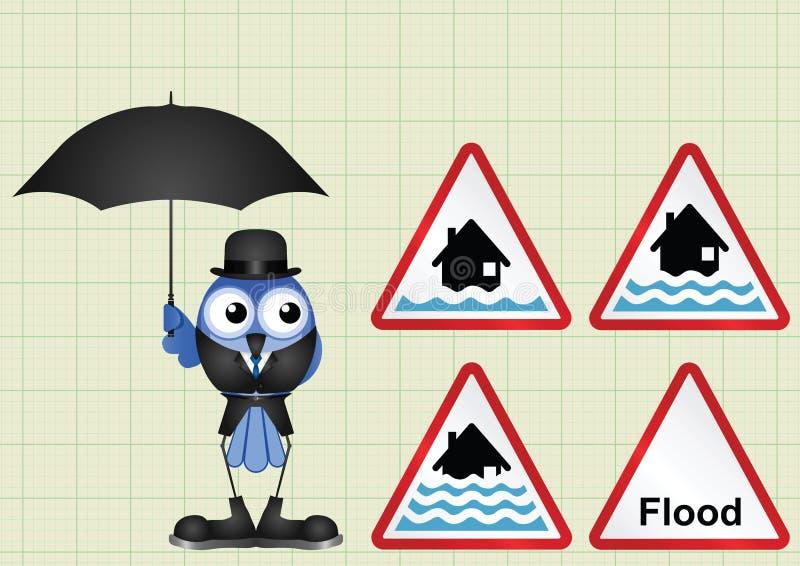 Coleção do sinal de aviso da inundação ilustração royalty free