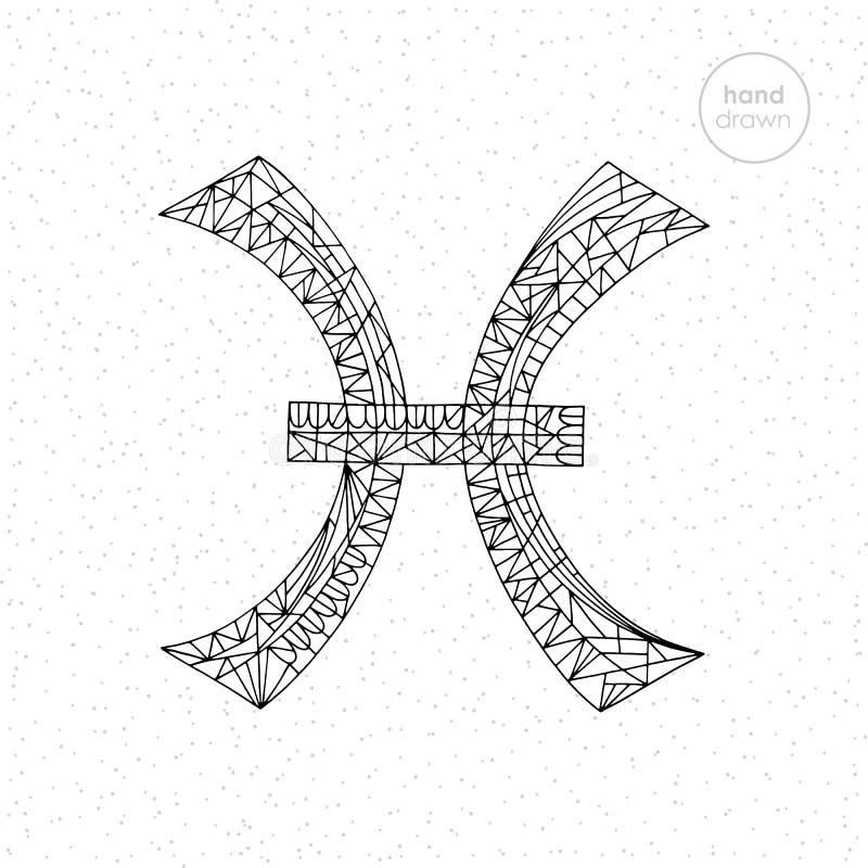 Coleção do sinal do zodíaco dos Peixes Ilustração tirada mão da série do horóscopo do vetor Página astrológica da coloração ilustração royalty free