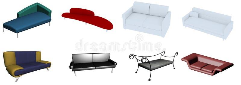 Coleção do sofá ilustração stock