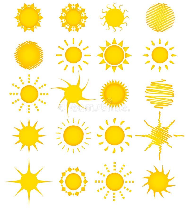 coleção do sol de 20 verões ilustração royalty free