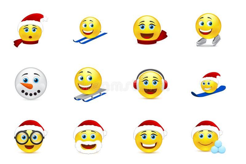 Coleção do sorriso do Natal e do ano novo ilustração stock