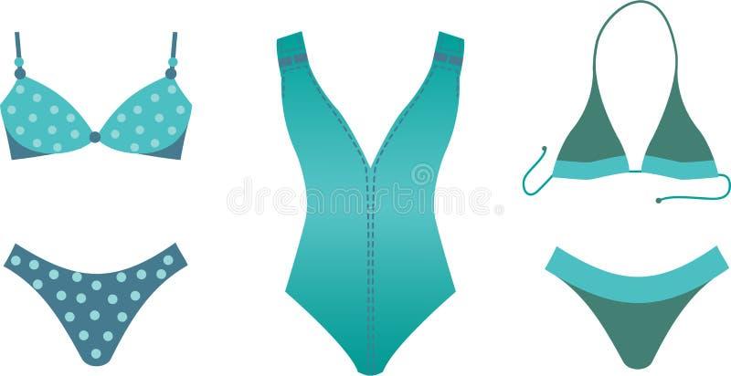 Coleção do Swimsuit. ilustração stock