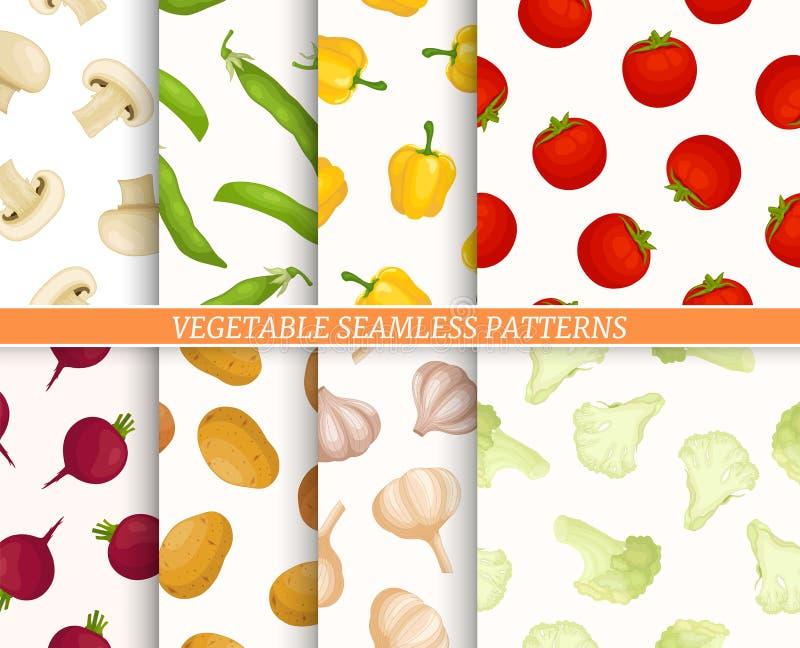Coleção do teste padrão de Seamles com vegetais diferentes ilustração do vetor