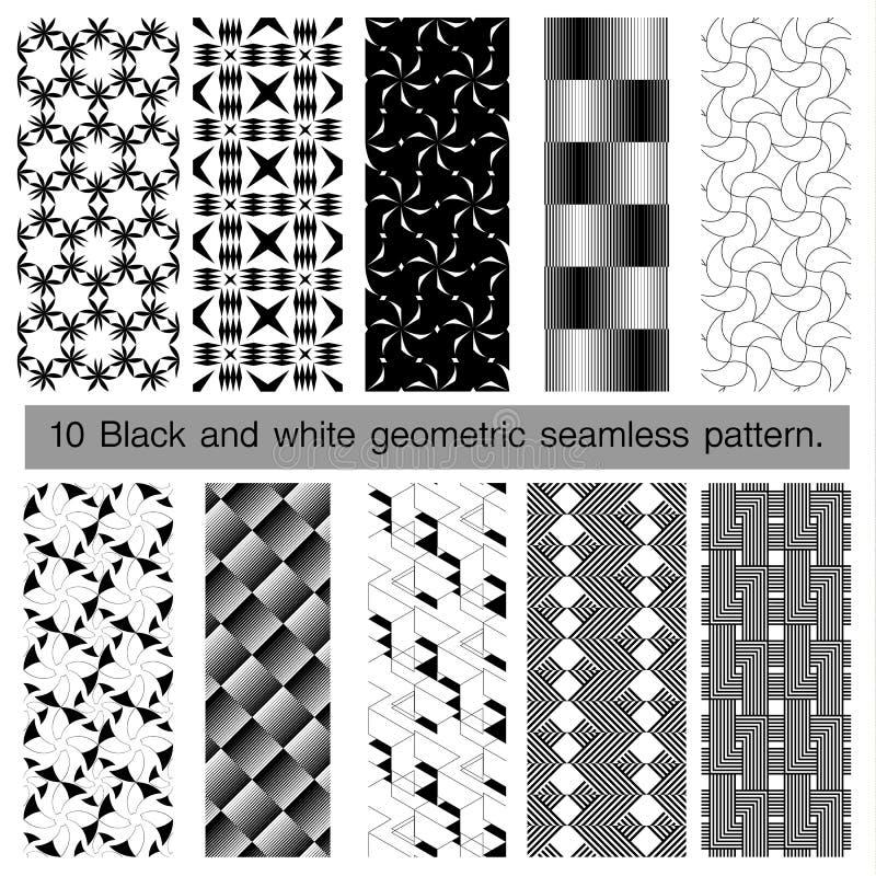 Coleção do teste padrão sem emenda geométrico preto e branco ilustração stock