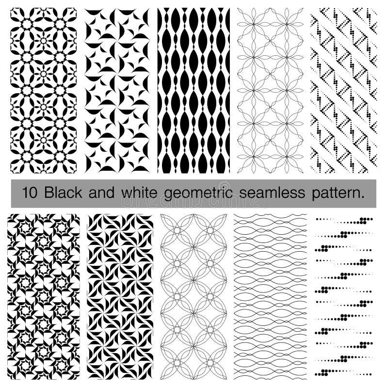 Coleção do teste padrão sem emenda geométrico preto e branco ilustração do vetor