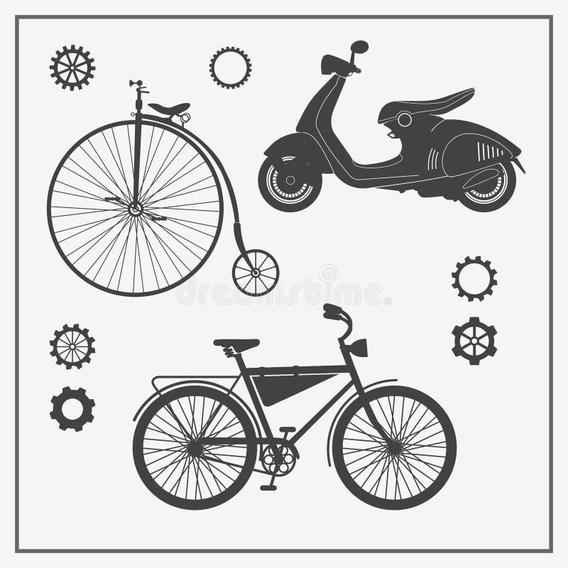 Coleção do transporte: bicicleta velha, bicicleta moderna e 'trotinette' Vector ilustrações para o cartão, o convite, os logotipo ilustração stock
