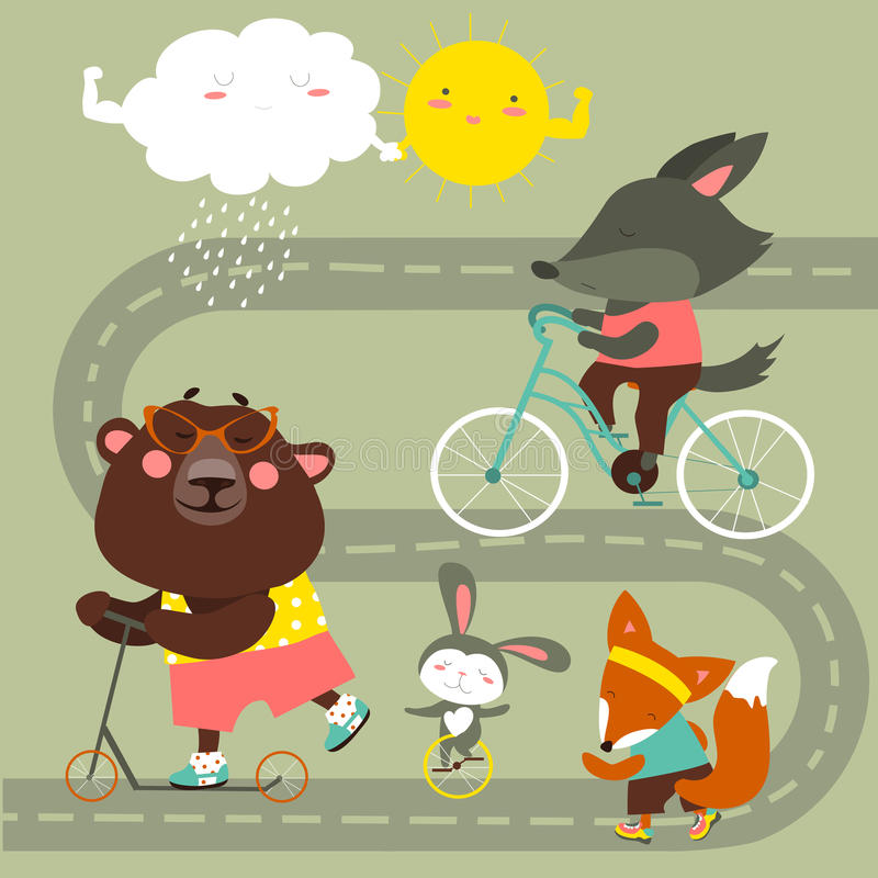 Coleção do transporte das crianças com animais bonitos ilustração royalty free