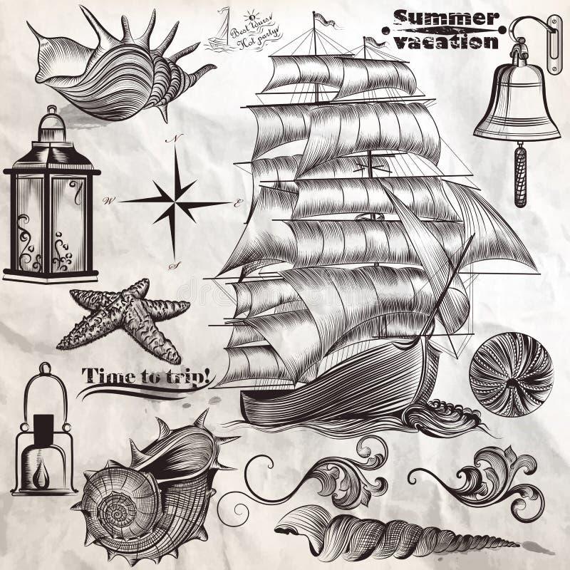 Coleção do vacati do resto e do verão do mar dos elementos da antiguidade do vetor ilustração royalty free