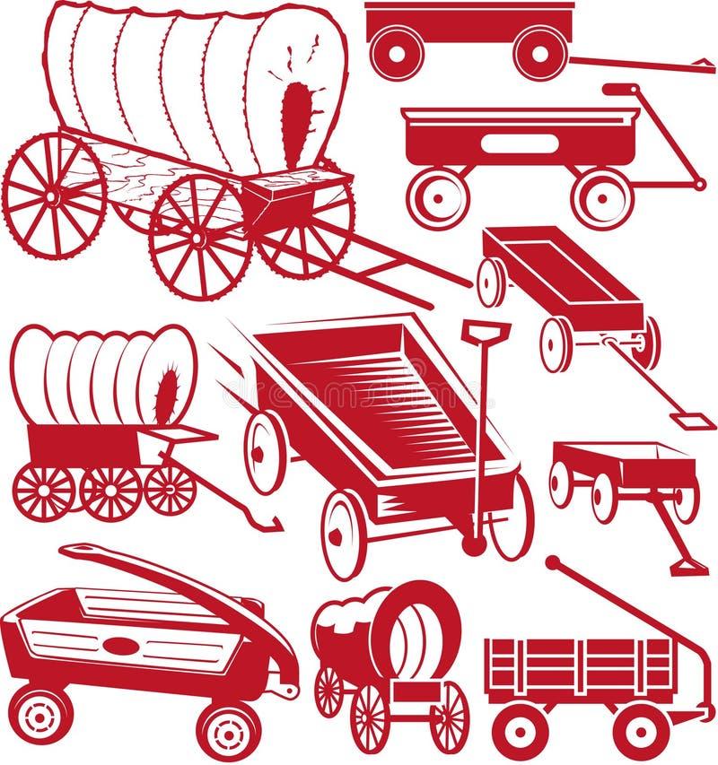 Coleção do vagão ilustração stock