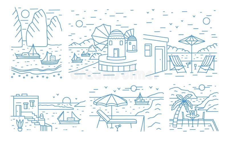 A coleção do verão ajardina com mar ou oceano, montanhas, navegando os iate e a estância balnear tirados com linhas de contorno ilustração royalty free