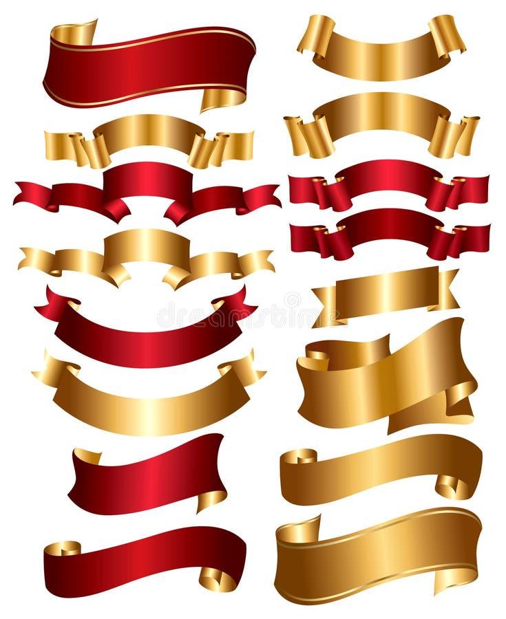 Coleção do vermelho e das fitas do ouro ilustração do vetor