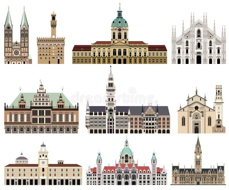 A coleção do vetor da elevação detalhou câmaras municipais isoladas, marcos, catedrais, templos, igrejas, palácios ilustração stock
