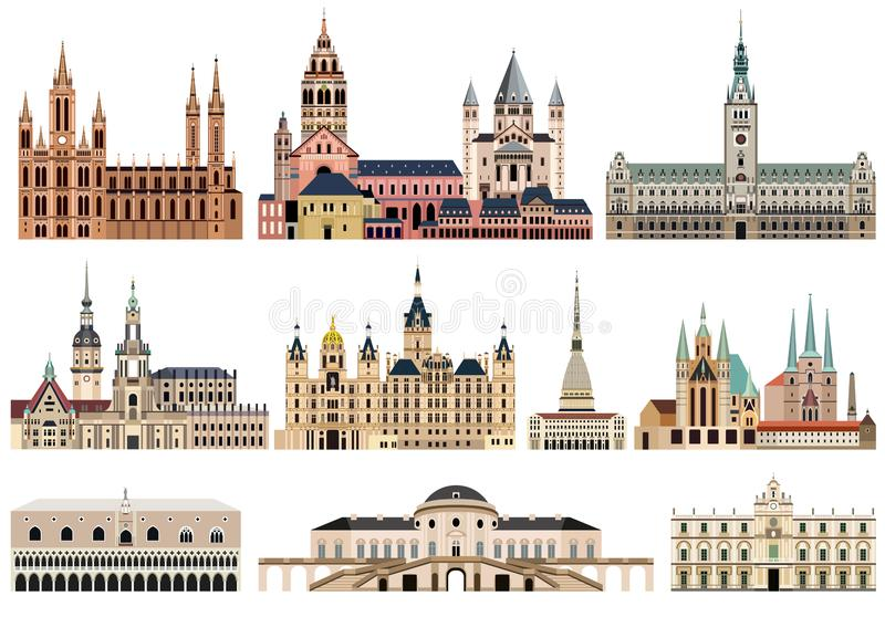 A coleção do vetor da elevação detalhou câmaras municipais, marcos, catedrais, templos, igrejas, palácios e o skylin isolados da  ilustração stock