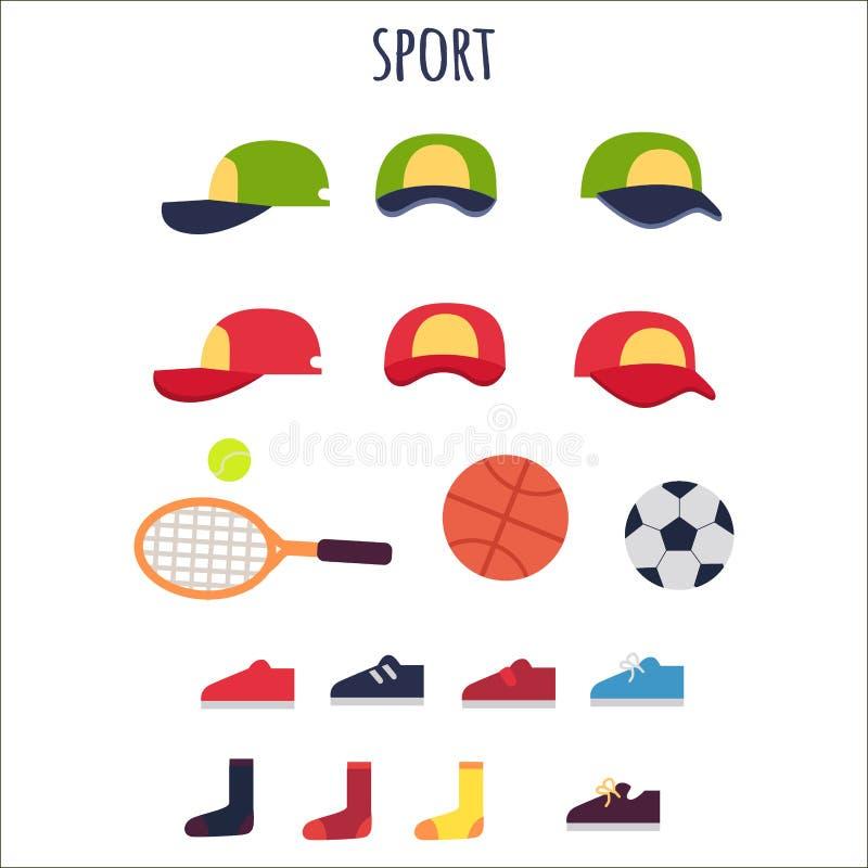 Coleção do vetor da roupa e dos equipamentos do esporte ilustração stock