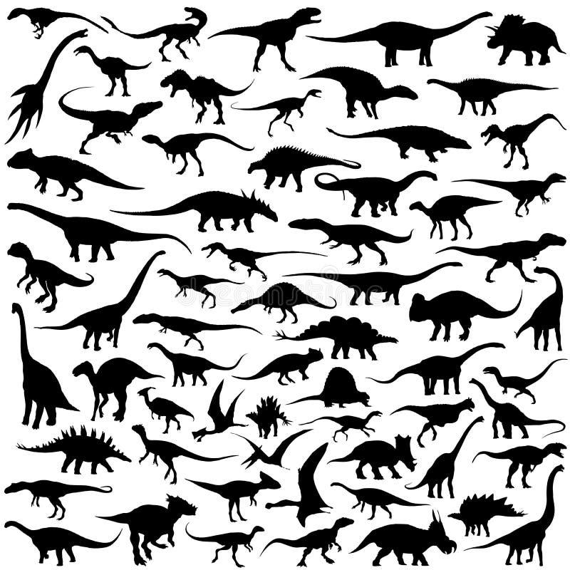 Coleção do vetor da silhueta do dinossauro ilustração stock