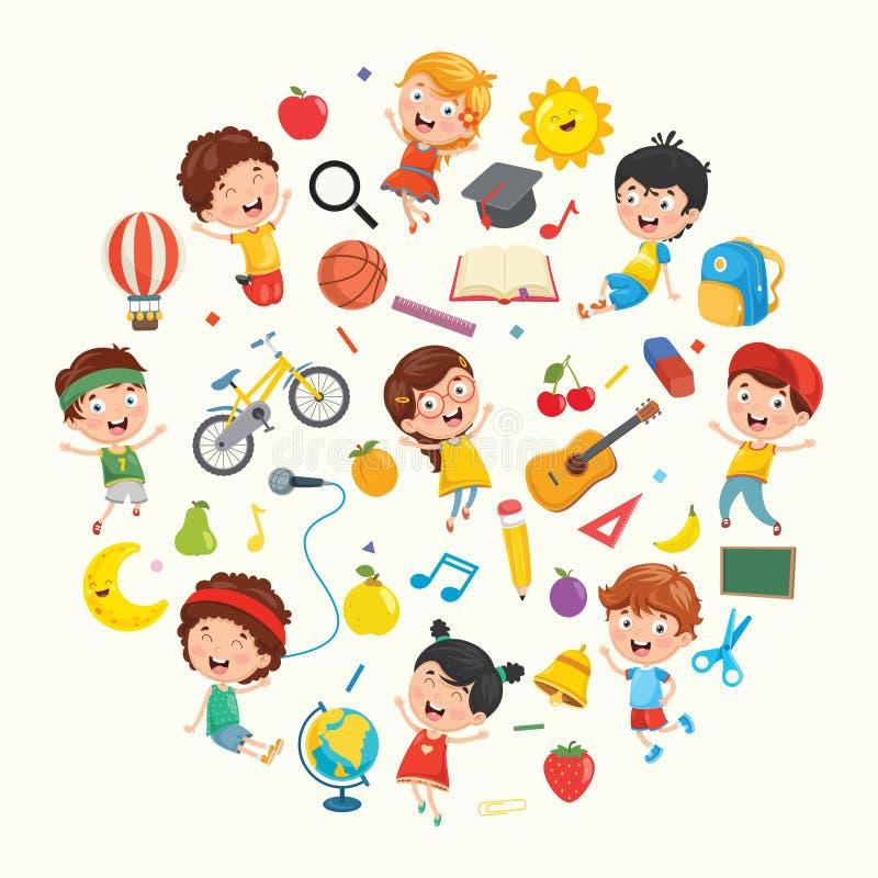 Coleção do vetor das crianças e da ilustração dos objetos ilustração stock