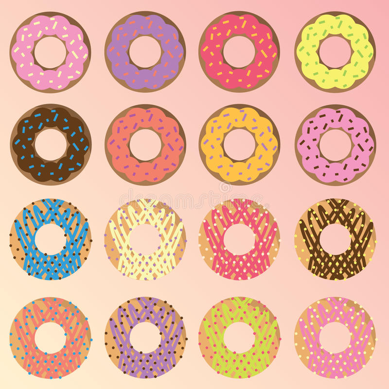 Coleção do vetor das filhóses dos anéis de espuma ilustração royalty free