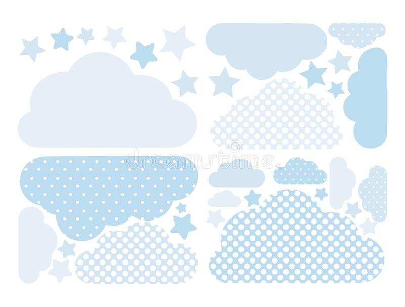 Coleção do vetor das nuvens em cores azuis pasteis com às bolinhas brancos Bloco de computação da nuvem com estrelas ilustração royalty free