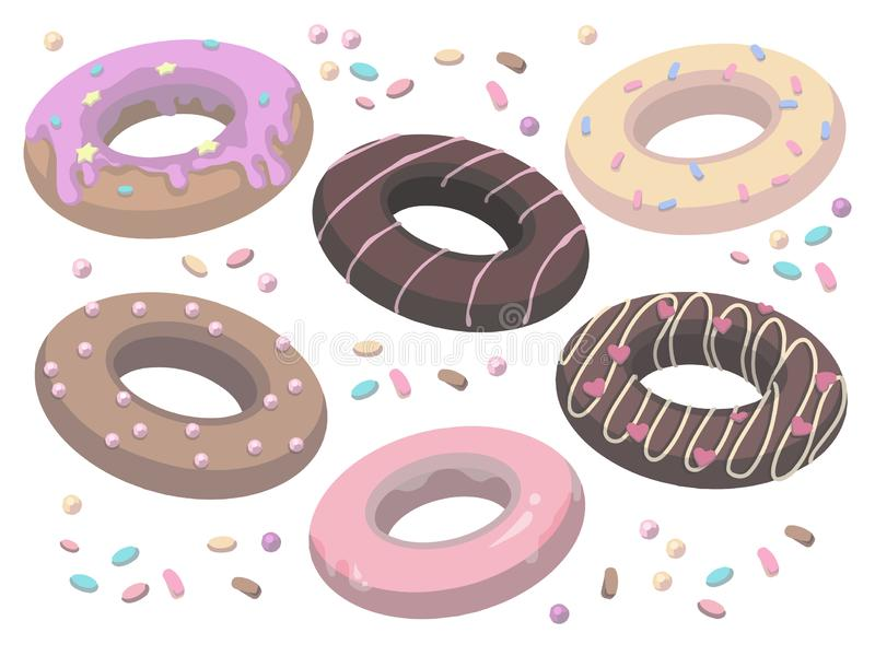 Coleção do vetor de anéis de espuma doces vitrificados e polvilhados deliciosos do estilo dos desenhos animados ilustração do vetor