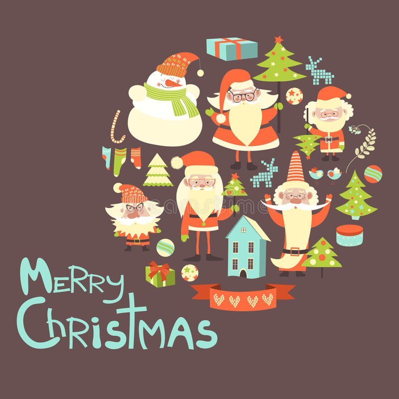 Coleção do vetor de artigos do Natal ilustração stock