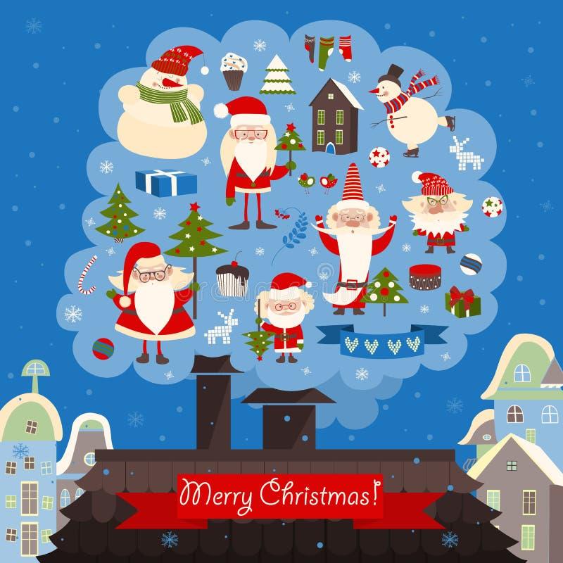 Coleção do vetor de artigos do Natal ilustração do vetor