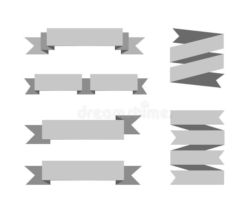 Coleção do VETOR de bandeiras monocromáticas, ilustrações isoladas ajustadas ilustração royalty free