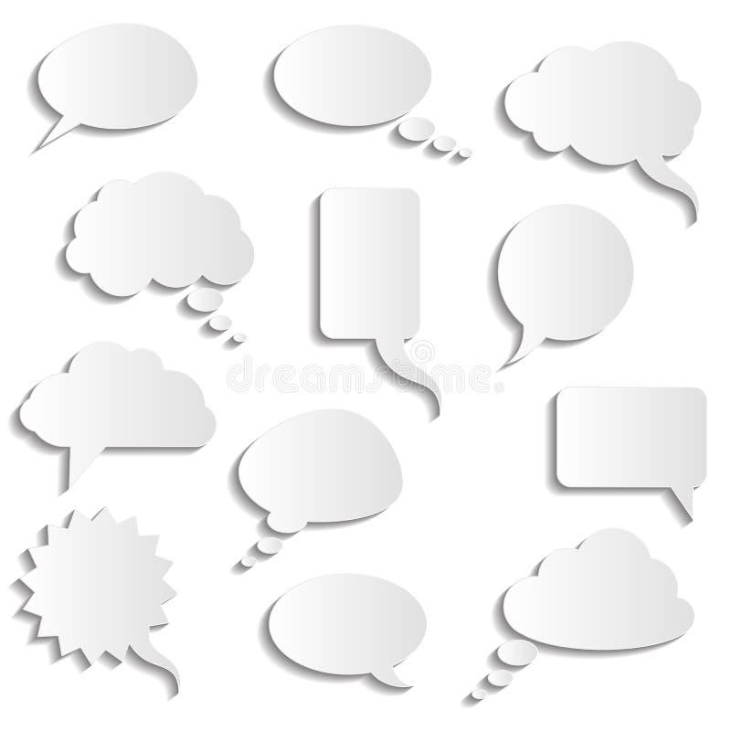 Coleção do vetor de bolhas de papel realísticas do discurso ilustração stock