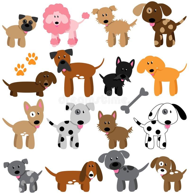 Coleção do vetor de cães bonitos dos desenhos animados ilustração royalty free