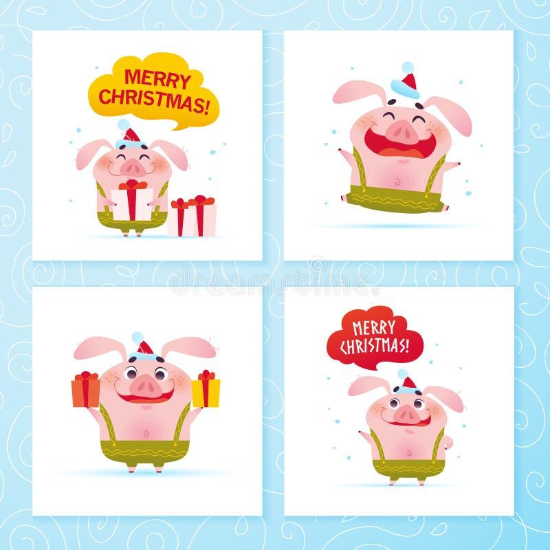 Coleção do vetor de cartões do ano novo feliz e do Feliz Natal com o porco bonito engraçado em calças verdes, chapéu de Santa com ilustração stock