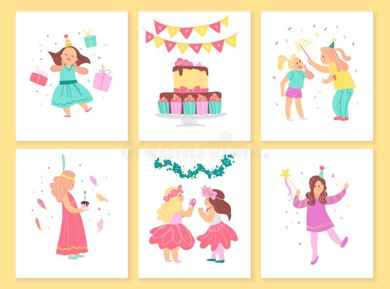 Coleção do vetor de cartões da festa de anos das meninas com bolo do BD, festões, elementos da decoração e caráteres felizes das  ilustração stock