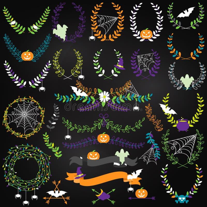 Coleção do vetor de Dia das Bruxas floral, de louros e de grinaldas ilustração stock