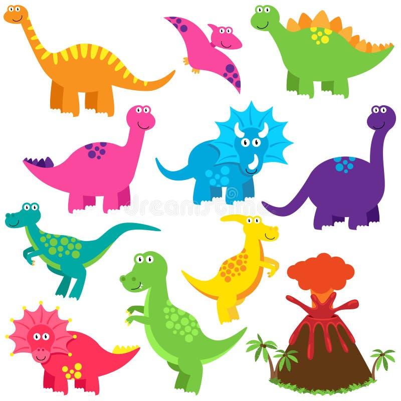 Coleção do vetor de dinossauros bonitos dos desenhos animados ilustração stock