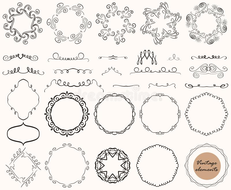 Coleção do vetor de elementos decorativos do vintage, linhas, ornamento, quadros, projetos caligráficos ilustração stock