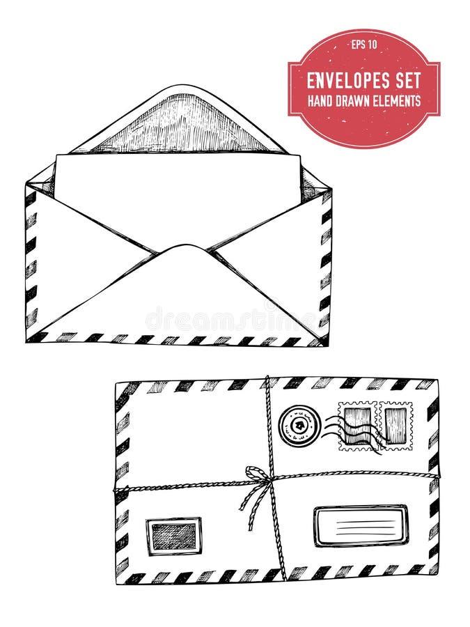 Coleção do vetor de envelopes tirados mão ilustração royalty free