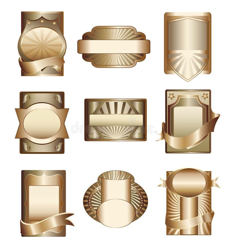 Coleção do vetor de etiquetas douradas luxuosas ilustração do vetor