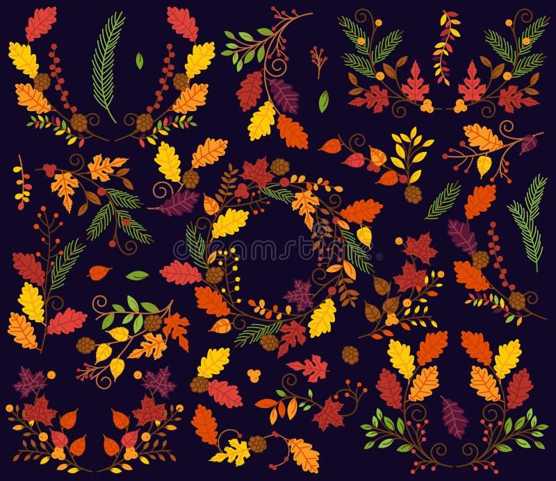 Coleção do vetor de flores do outono ou da queda do estilo do vintage ilustração do vetor