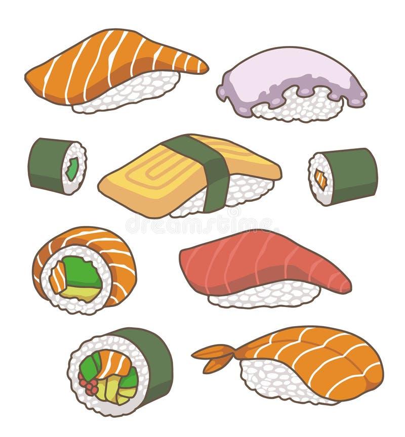 Coleção do vetor de ilustrações japonesas do sushi dos desenhos animados ilustração royalty free