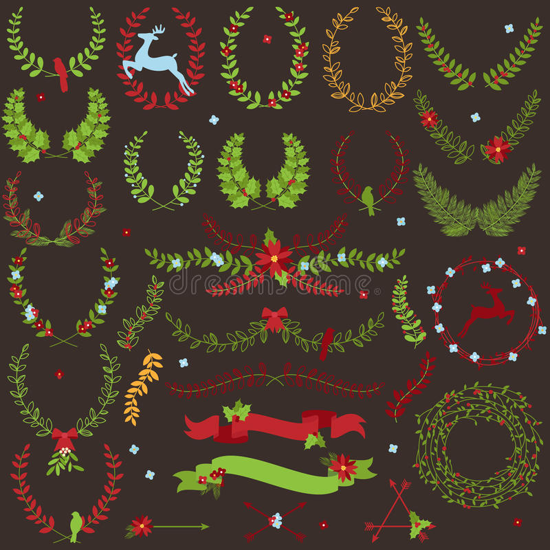 Coleção do vetor de louros temáticos do feriado do Natal ilustração do vetor