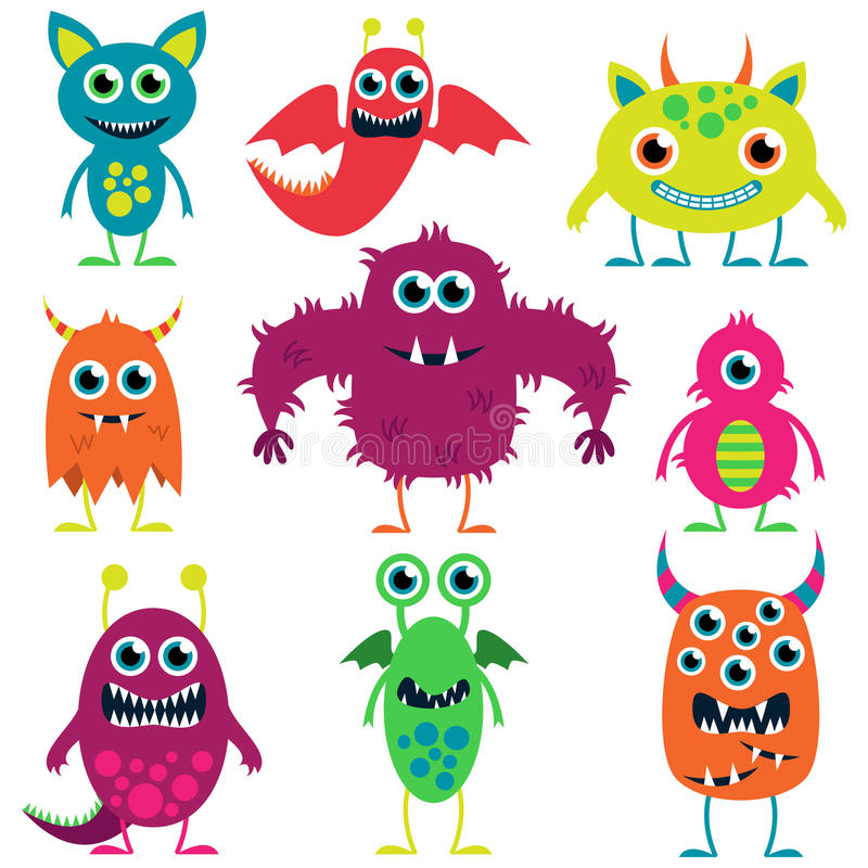 Coleção do vetor de monstro bonitos ilustração stock