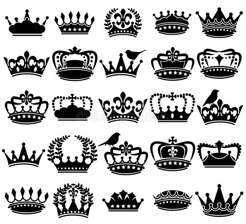 Coleção do vetor de silhuetas da coroa do estilo do vintage ilustração do vetor
