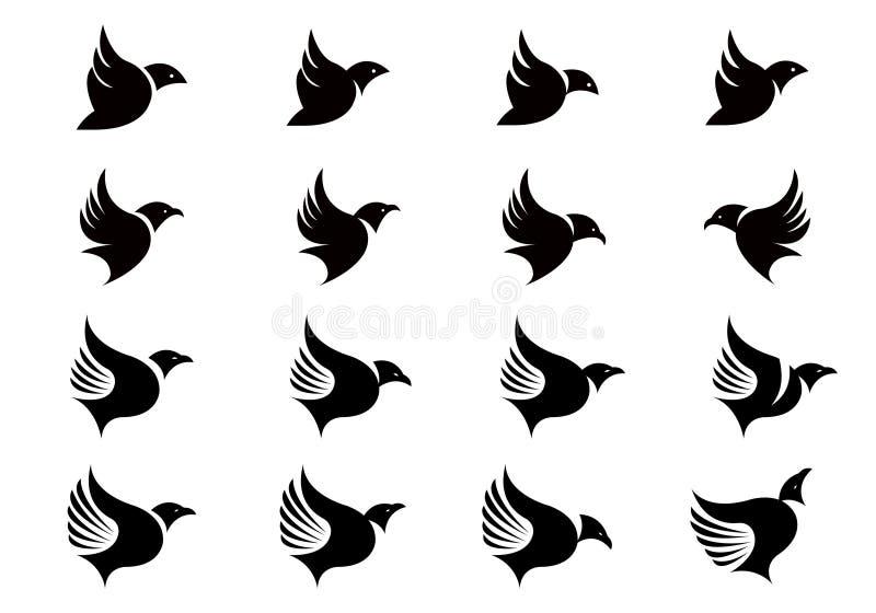 A coleção do vetor de silhuetas do pássaro de voo projeta o molde ilustração stock