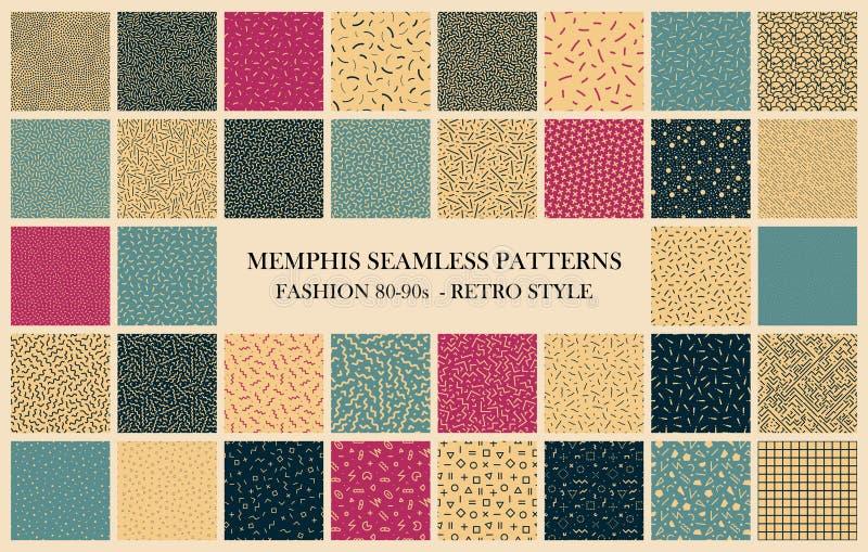 Coleção do vetor de testes padrões sem emenda de Memphis Projeto retro - forma 80-90s Texturas da cor - fundos na moda ilustração stock