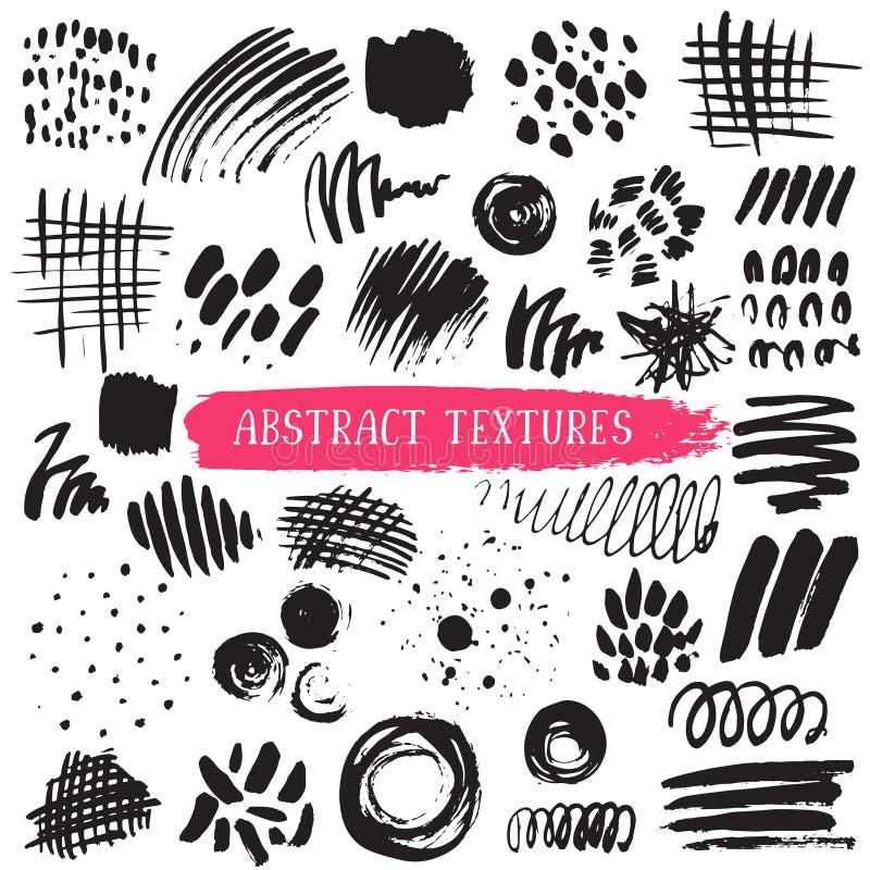 Coleção do vetor de texturas abstratas de tinta preta ilustração do vetor