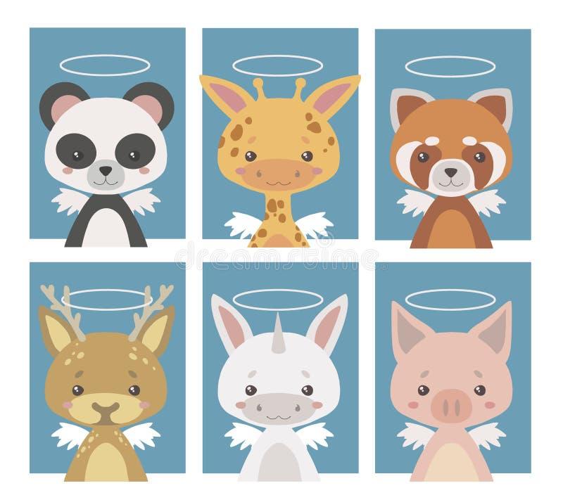 Coleção do vetor de vários animais do anjo da guarda com asas e halos ilustração stock