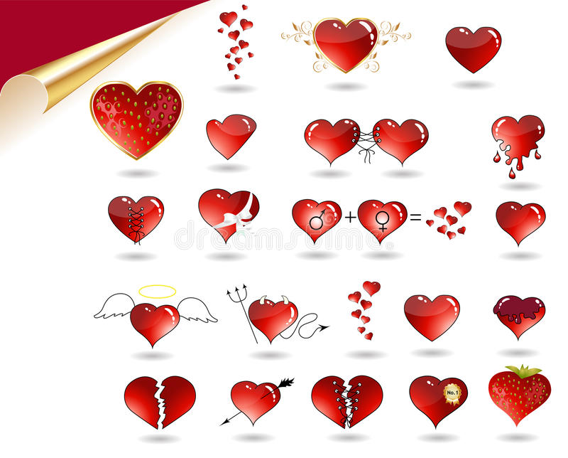 Coleção do vetor de vários corações. ilustração royalty free