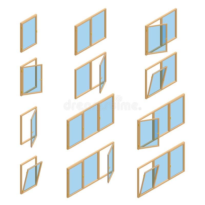 Coleção do vetor de vários tipos das janelas Para o interior e o uso exterior Estilo isométrico do vetor 3d liso ilustração royalty free